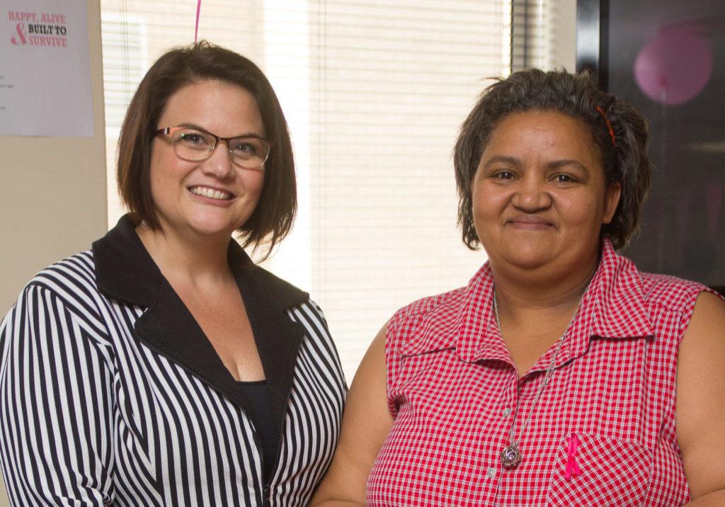 Dr Cathryn Walton and Aspen cancer survivor Mercia Douw